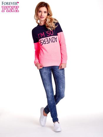 Różowa bluza z napisem I'M SO ADVERSE                                  zdj.                                  7
