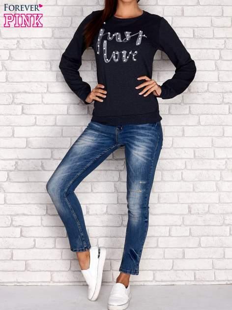 Różowa bluza z napisem JUST LOVE i perełkami                                  zdj.                                  4