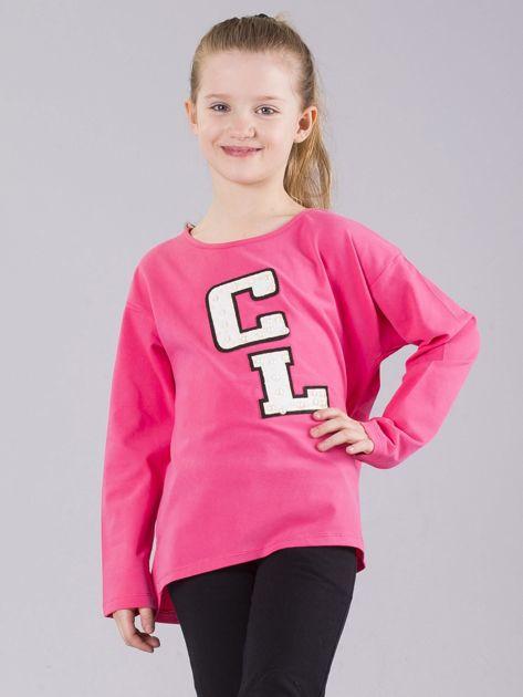 Różowa bluzka dziewczęca z aplikacją z perełkami                              zdj.                              1