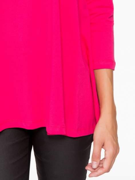 Różowa bluzka o rozkloszowanym kroju z rękawem 3/4                                  zdj.                                  7