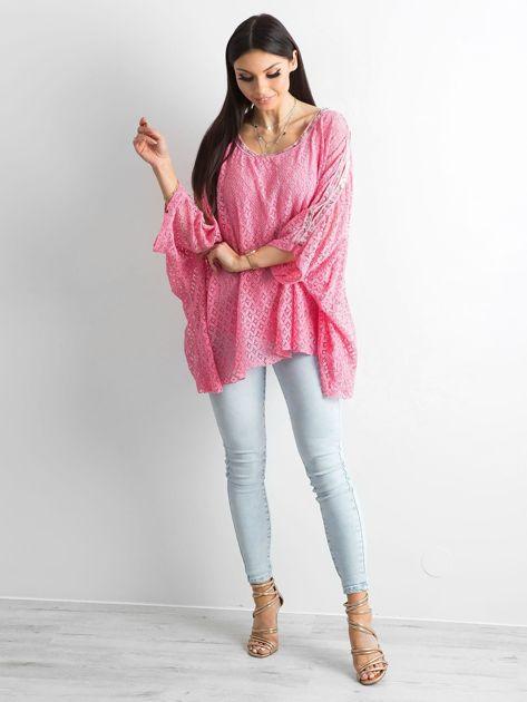 Różowa bluzka ponczo                              zdj.                              4