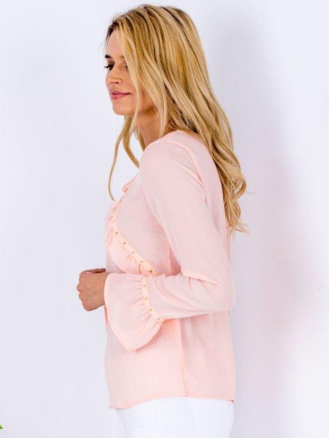 Szyfonowa bluzka z falbankami i aplikacją różowa                                  zdj.                                  3
