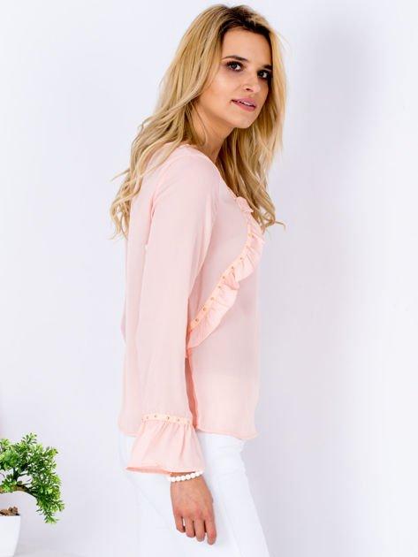 Szyfonowa bluzka z falbankami i aplikacją różowa                                  zdj.                                  5