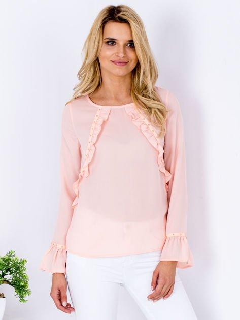 Szyfonowa bluzka z falbankami i aplikacją różowa                                  zdj.                                  1