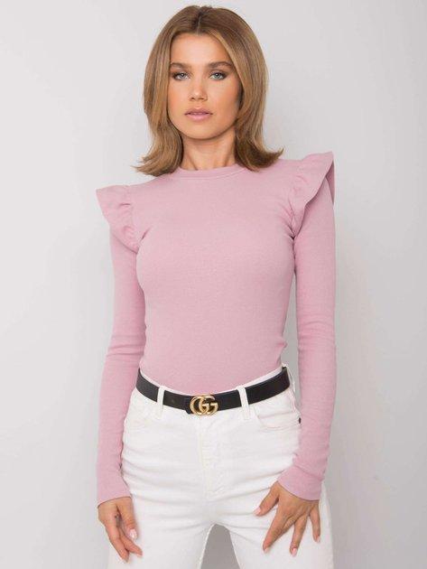 Różowa bluzka z falbankami na ramionach Maeva