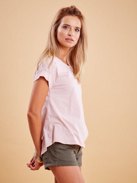 Różowa bluzka z guzikami z tyłu                              zdj.                              3