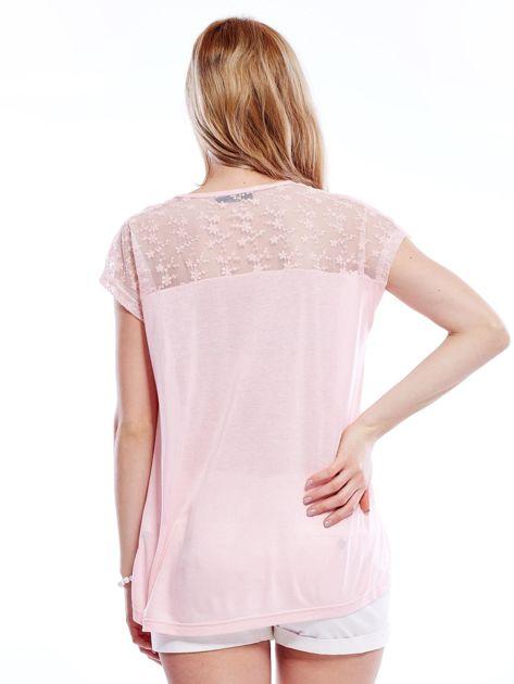 Różowa bluzka z koronkową górą                              zdj.                              2