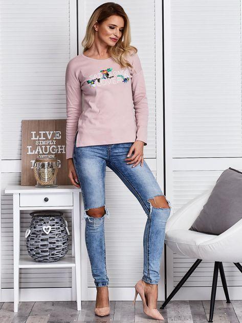 Różowa bluzka z kwiatowym haftem                              zdj.                              4