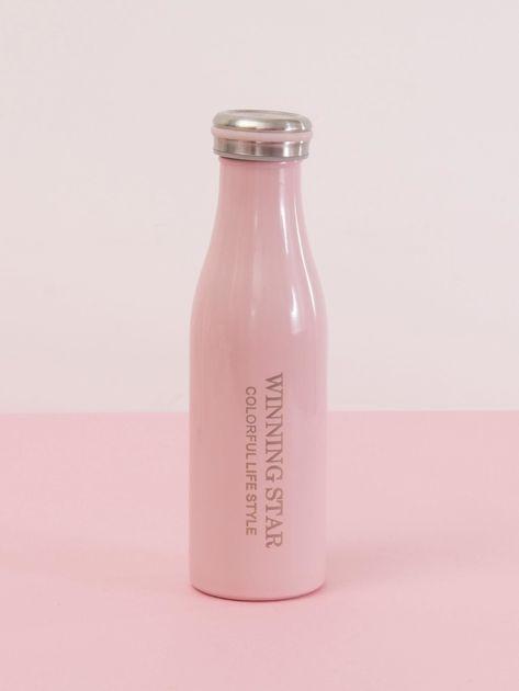 Różowa butelka termos z zakrętką                               zdj.                              1
