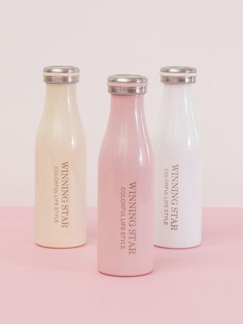 Różowa butelka termos z zakrętką                               zdj.                              4