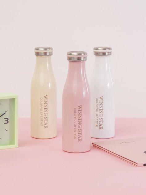 Różowa butelka termos z zakrętką                               zdj.                              5