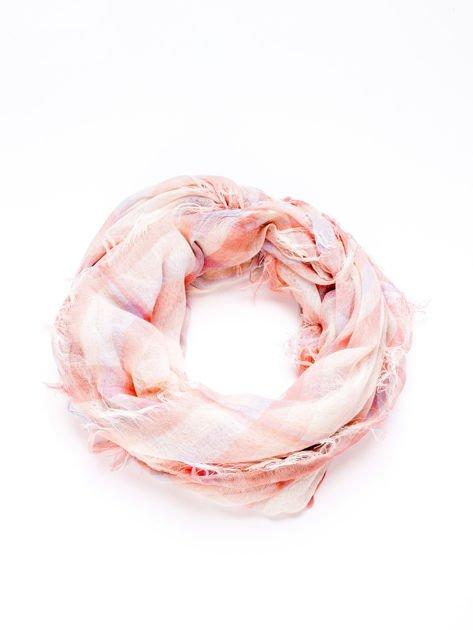 Różowa chusta w kratę                                  zdj.                                  3