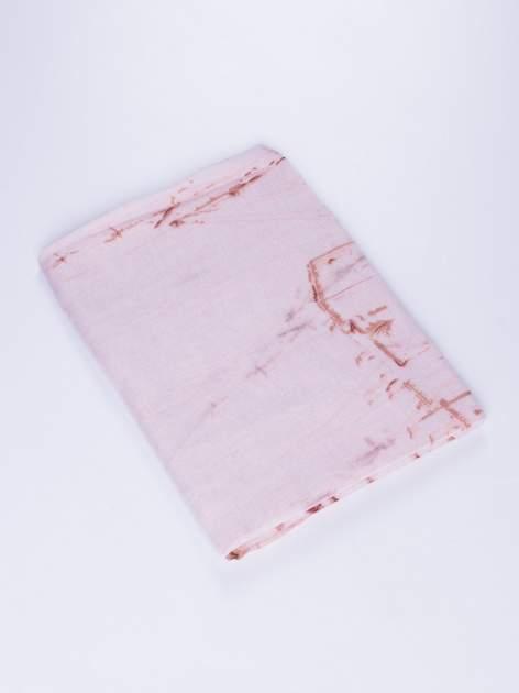 Różowa chusta ze wzorem z palmą                                  zdj.                                  2