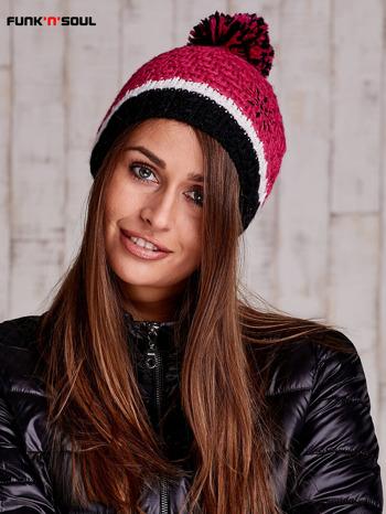Różowa czapka z pomponem FUNK N SOUL                              zdj.                              2