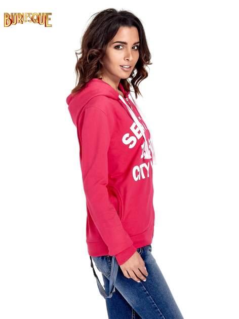 Różowa damska bluza z kapturem i napisem SEATLE 1990                                  zdj.                                  3