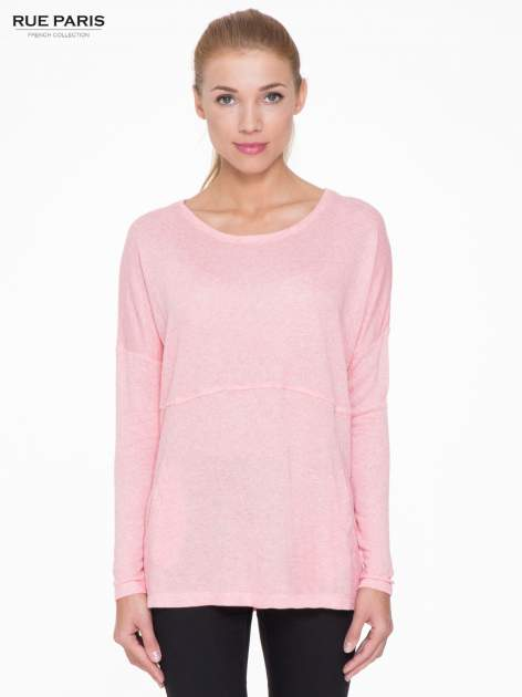 Różowa dresowa bluza oversize z kieszeniami