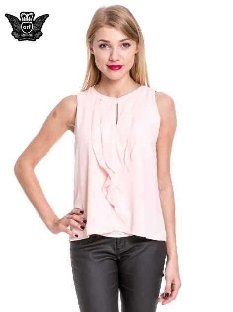 Różowa elegancka koszula z żabotem                                  zdj.                                  1