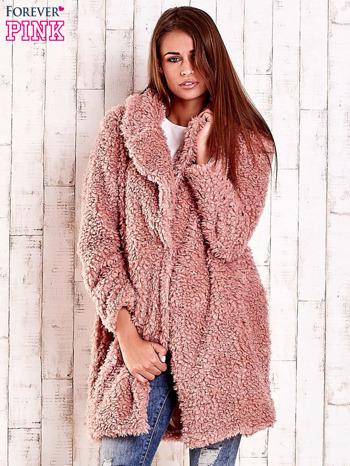 Różowa futrzana kurtka oversize                                  zdj.                                  2