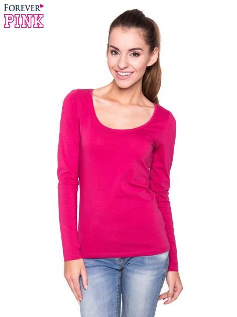 Różowa gładka bluzka z długim rękawem                                  zdj.                                  1