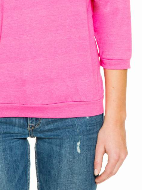 Różowa gładka bluzka z luźnymi rękawami 3/4                                  zdj.                                  6