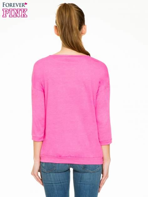 Różowa gładka bluzka z luźnymi rękawami 3/4                                  zdj.                                  4