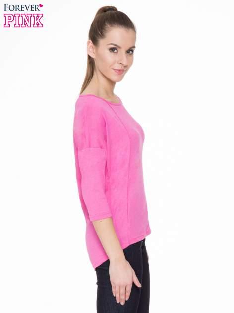 Różowa gładka bluzka z ozdobnymi przeszyciami                                  zdj.                                  3