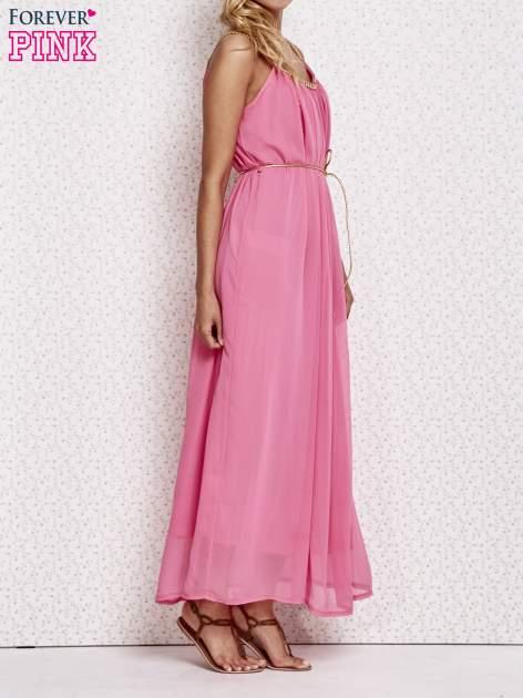 Różowa grecka sukienka maxi ze złotym paskiem                                  zdj.                                  3
