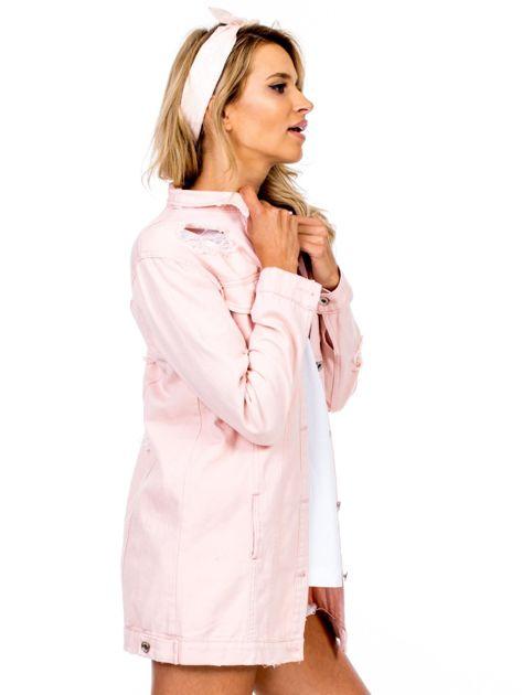 Różowa jeansowa kurtka z rozdarciami                              zdj.                              3