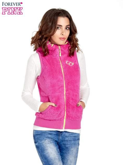 Różowa kamizelka z polaru z kapturem z uszkami                                  zdj.                                  1