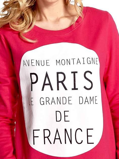 Rózowa klasyczna bluza damska z napisem AVENUE MONTAIGNE                                  zdj.                                  5