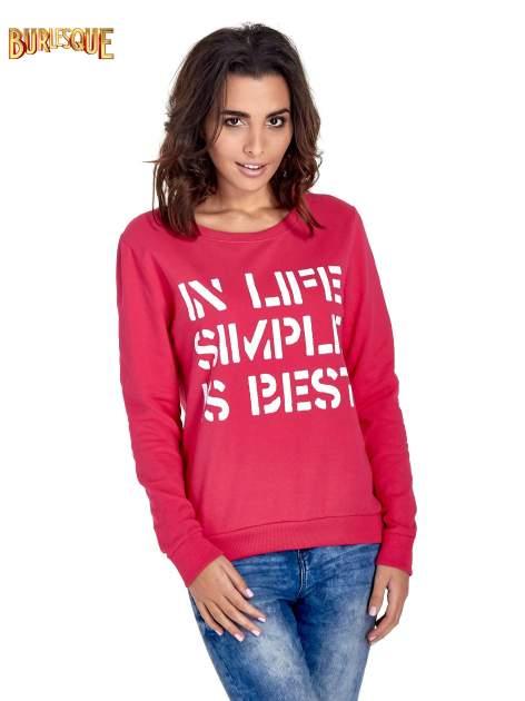 Różowa klasyczna bluza damska z napisem IN LIFE SIMPLE IS BEST                                  zdj.                                  1