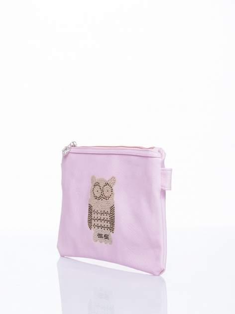 Różowa kopertówka z dżetami motyw sowy                                  zdj.                                  3