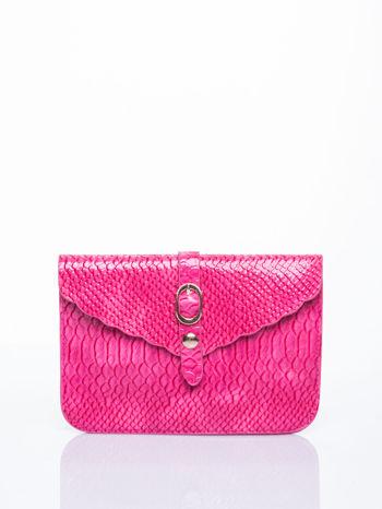 Różowa kopertówka z motywem skóry krokodyla                                  zdj.                                  1