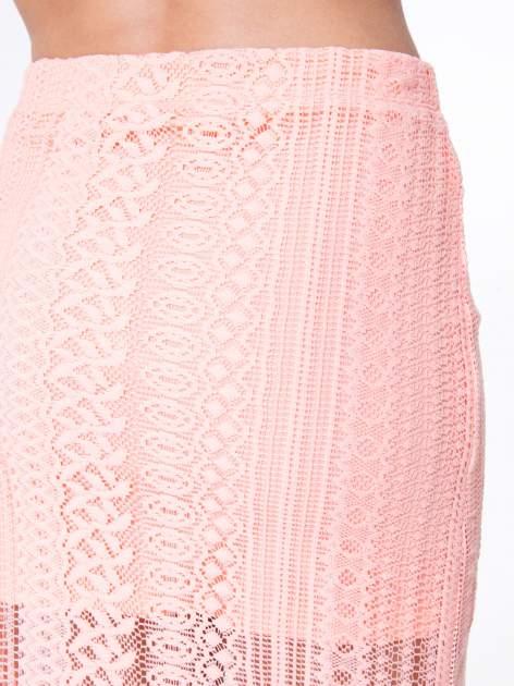 Różowa koronkowa spódnica maxi z rozporkiem                                  zdj.                                  6