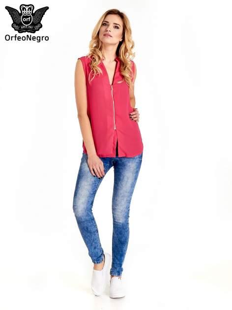 Różowa koszula V-neck z suwakiem                                  zdj.                                  6