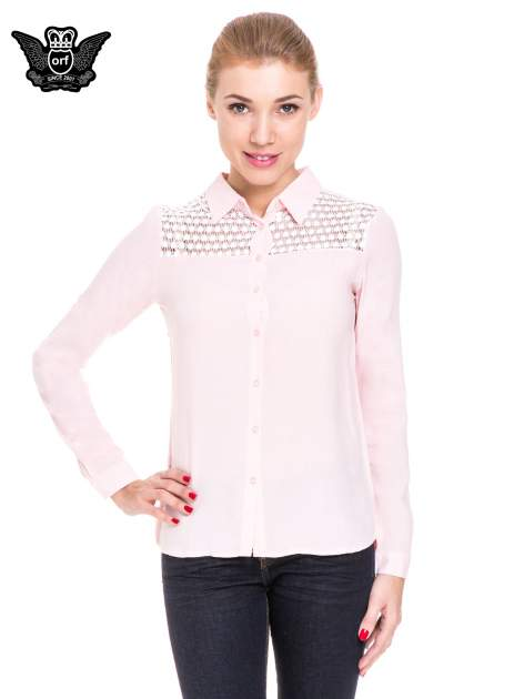 Różowa koszula damska z koronkową górą