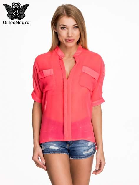 Różowa koszula mgiełka z kieszonkami                                  zdj.                                  1