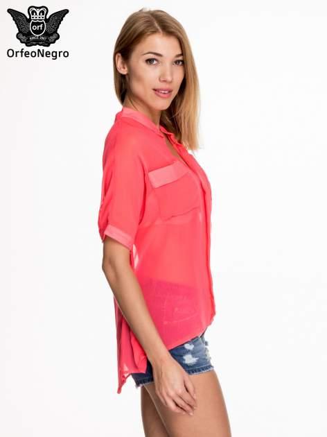 Różowa koszula mgiełka z kieszonkami                                  zdj.                                  3