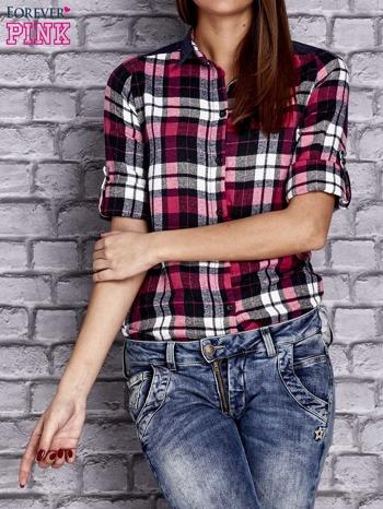 Różowa koszula w kolorową kratę z denimową wstawką                                  zdj.                                  5