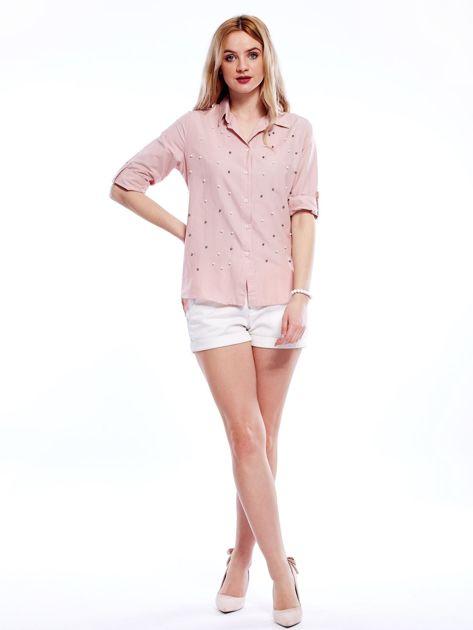 Różowa koszula z perełkami i podwijanymi rękawami                              zdj.                              5