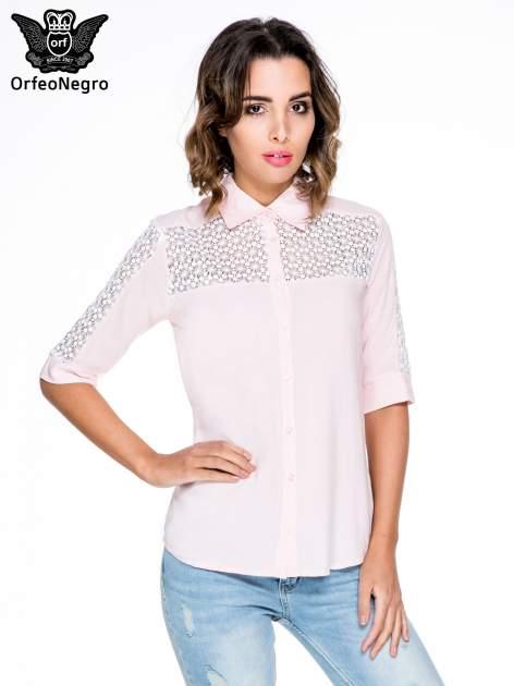 Różowa koszula z rękawem do łokcia i koronką                                  zdj.                                  1