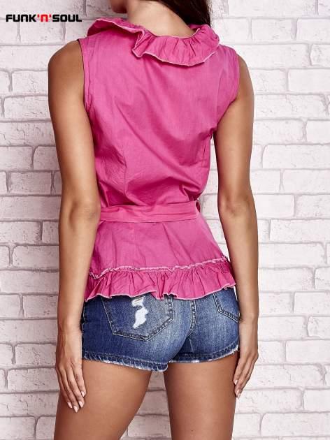Różowa koszula z wiązaniem i falbankami FUNK N SOUL                                  zdj.                                  2