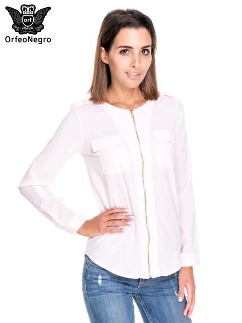 Różowa koszula ze złotym suwakiem i kieszonkami                                  zdj.                                  1