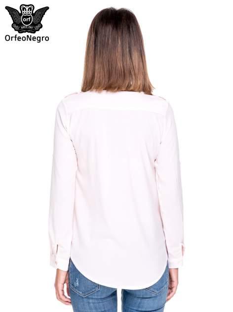 Różowa koszula ze złotym suwakiem i kieszonkami                                  zdj.                                  4