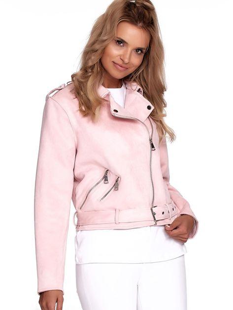 Różowa kurtka ramoneska damska                              zdj.                              4