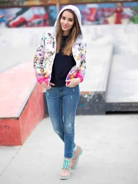 Różowa kwiatowa kurtka bomber jacket z kapturem                                  zdj.                                  10