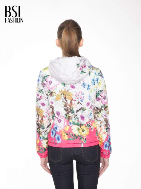 Różowa kwiatowa kurtka bomber jacket z kapturem                                  zdj.                                  4