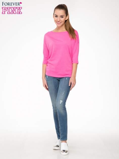 Różowa luźna bluzka z rękawem 3/4                                  zdj.                                  2