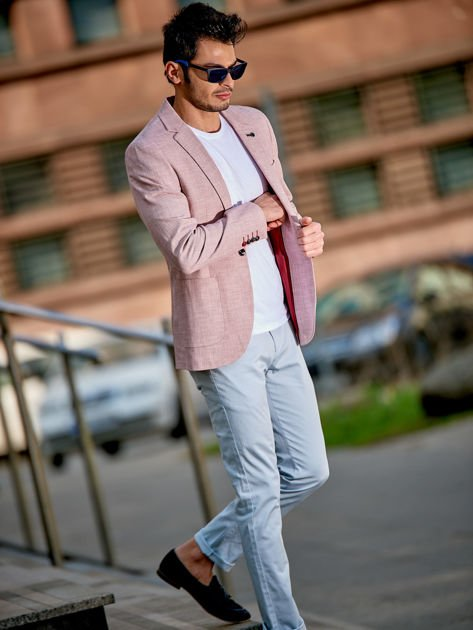Różowa marynarka męska slim fit w drobny deseń                              zdj.                              1