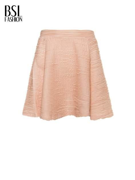 Różowa mini spódnica skater z fakturą                                  zdj.                                  2